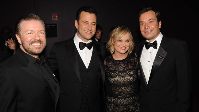 Ricky Gervais, Jimmy Kimmel, Amy Poehler and Jimmy Fallon
