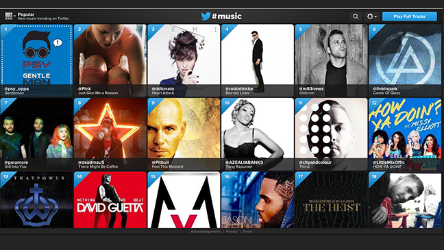 Twitter Music App screen grab L