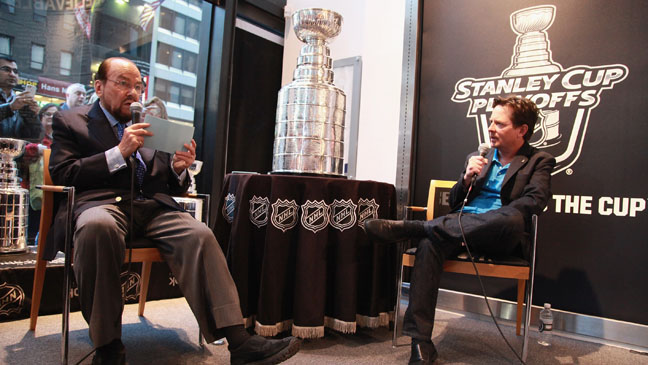 James Lipton Michael J. Fox with Stanely Cup - H 2013