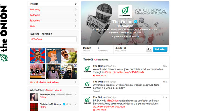 The Onion Twitter Hack - H 2013