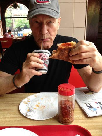 Patrick Stewart Eating Pizza - P 2013