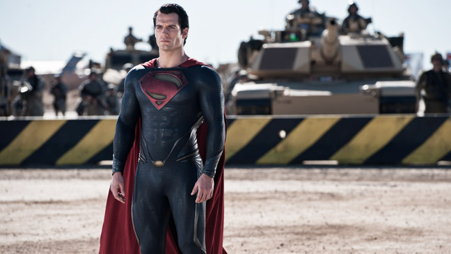 Man of Steel Cavill in front of Army Tanks - H 2013