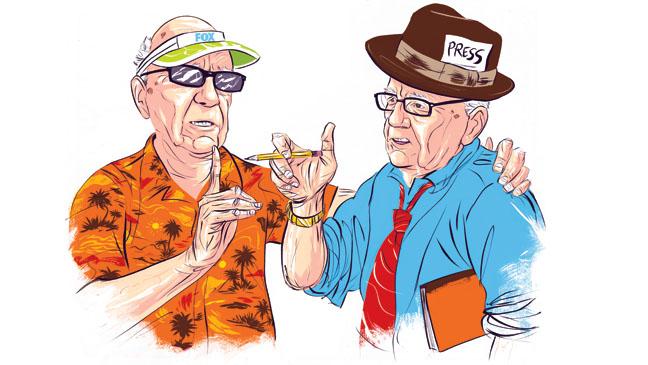 Rupert Murdoch Split Illustration - H 2013