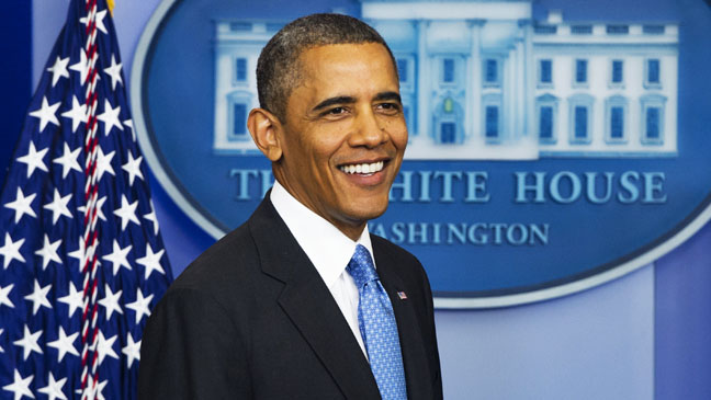 Barack Obama at White House Press Conference - H 2013