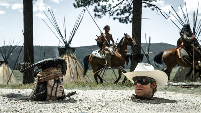 The Lone Ranger Depp Hammer Heads out of Ground - H 2013