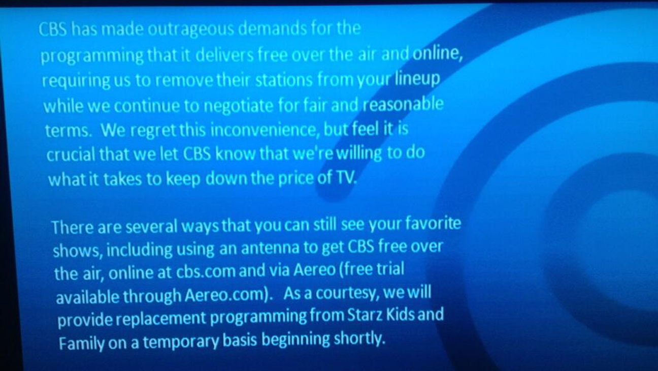 CBS blacked out on Time Warner Screengrab - H 2013