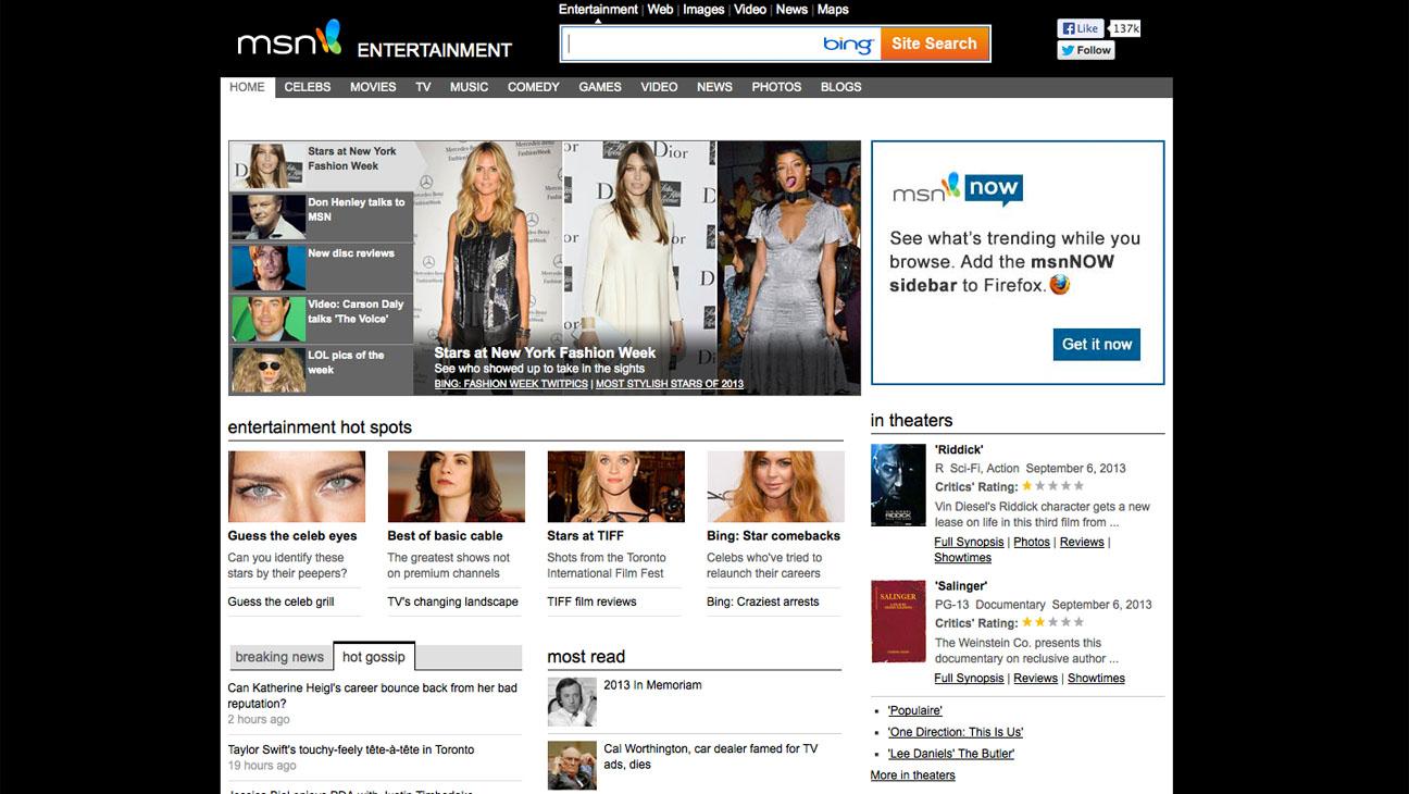 MSN Entertainment Screengrab - H 2013