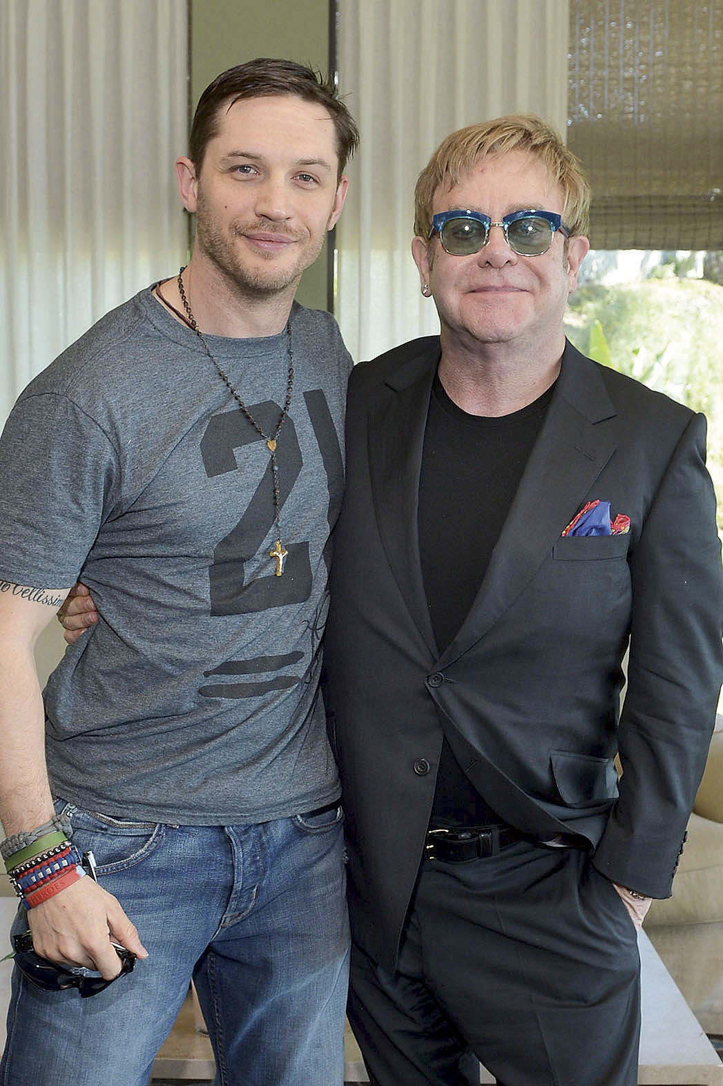 Tom Hardy and Elton John - P 2013