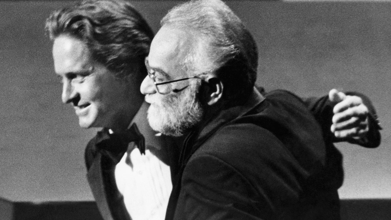 Michael Douglas with Saul Zaentz at Oscars 1976 - H 2014