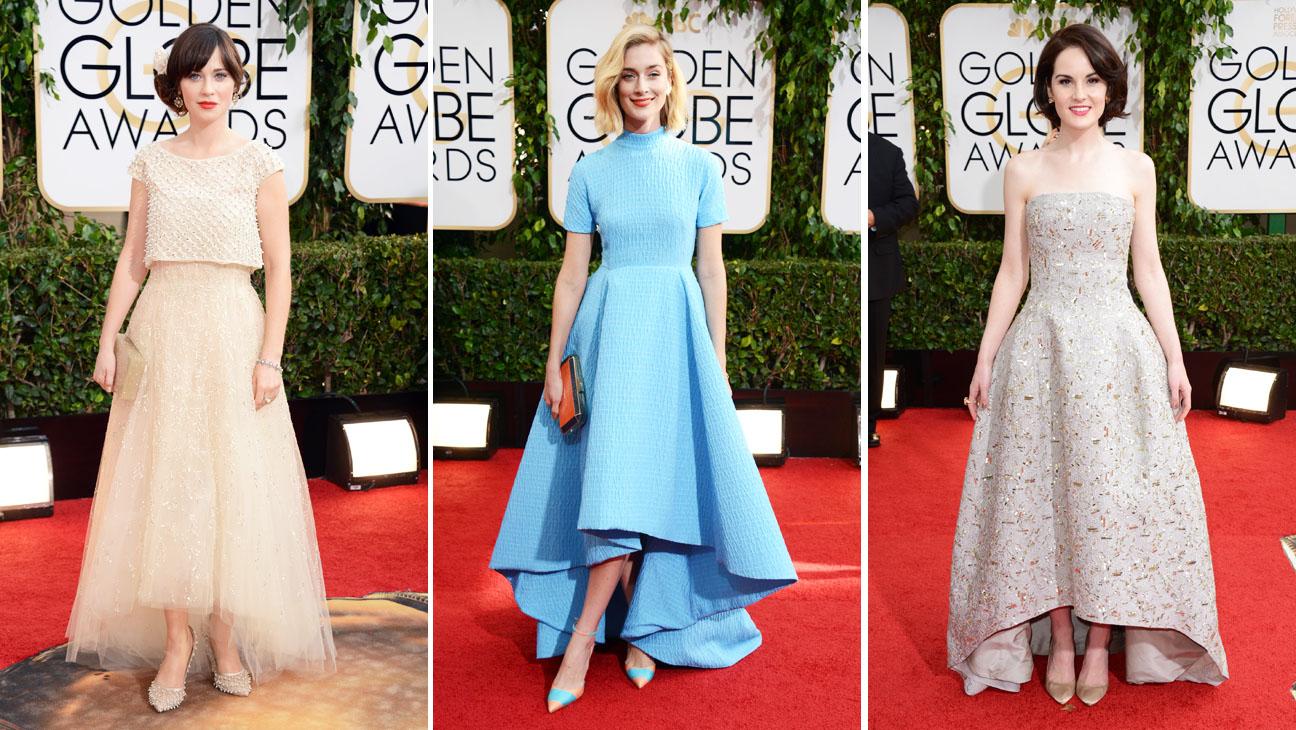 Golden Globes Deschanel Dockery FitzGerald Split - H 2014