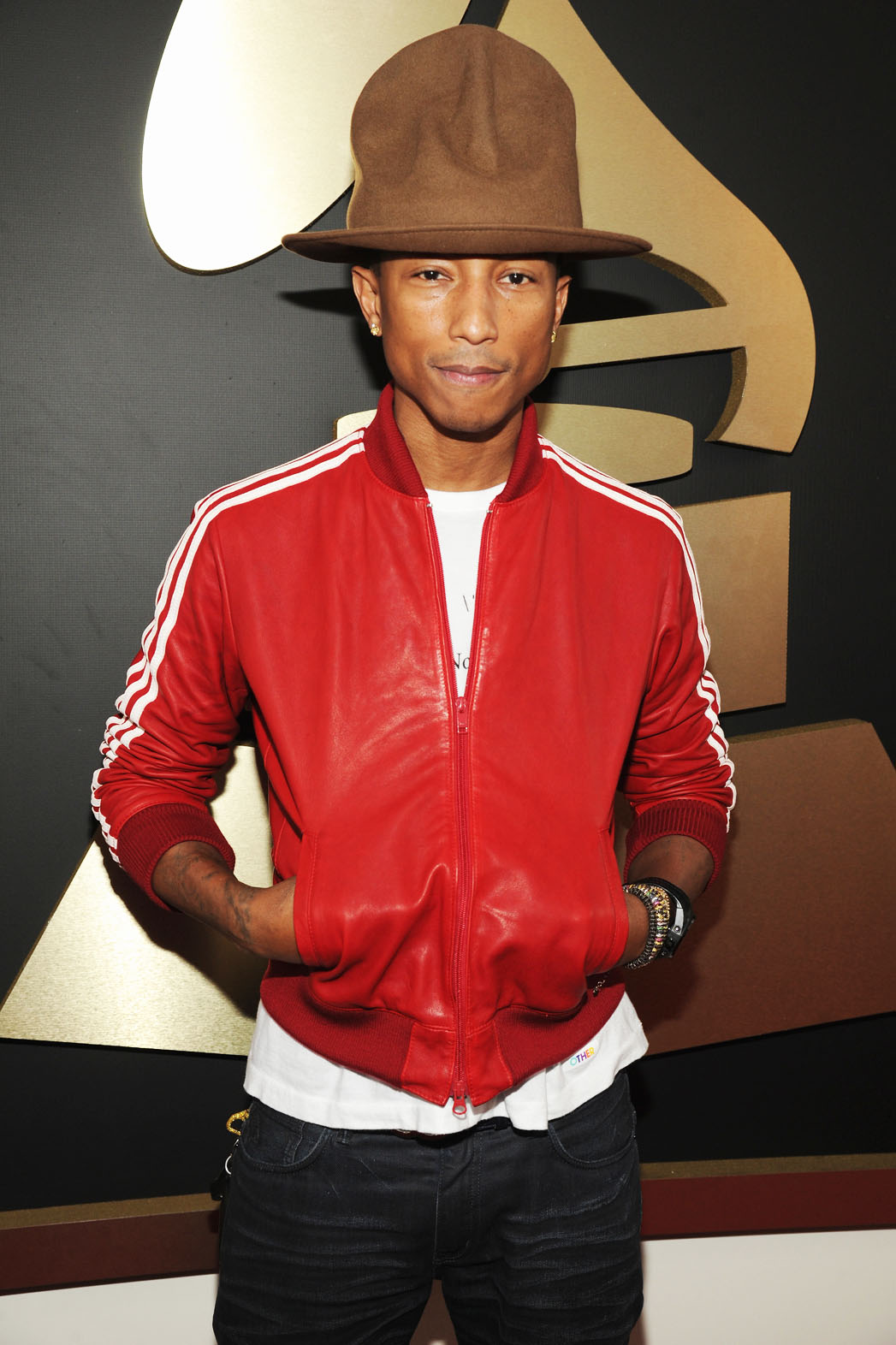 Pharrell Williams Grammy Arrivals Hat - P 2014