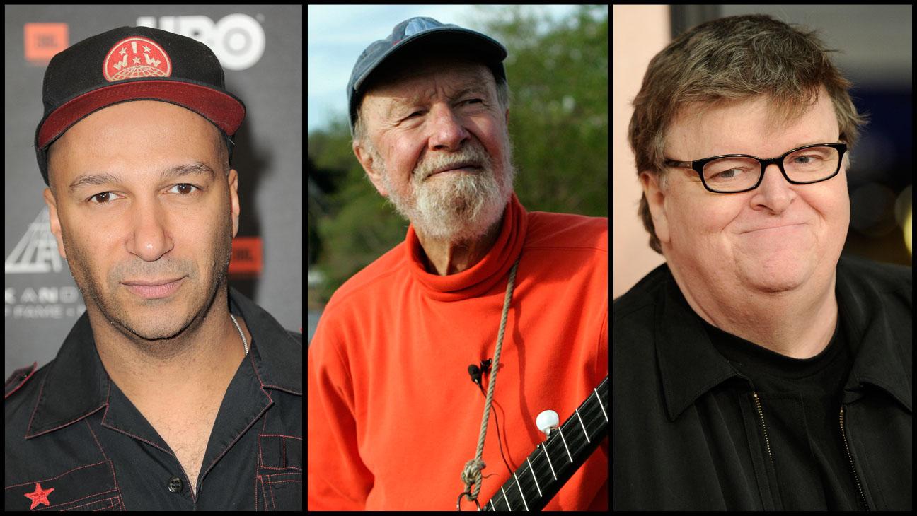 Tom Morello Pete Seeger Michael Moore Split - H 2014