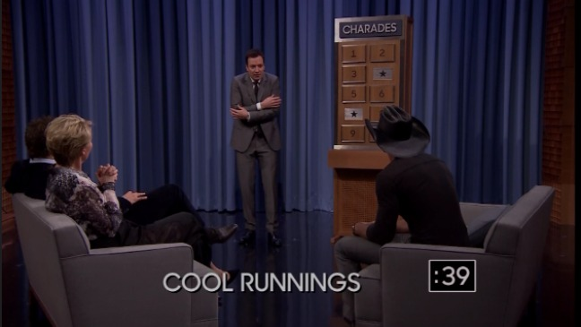 Jimmy Fallon Plays Charades With Bradley Cooper Emma Thompson Video Hollywood Reporter