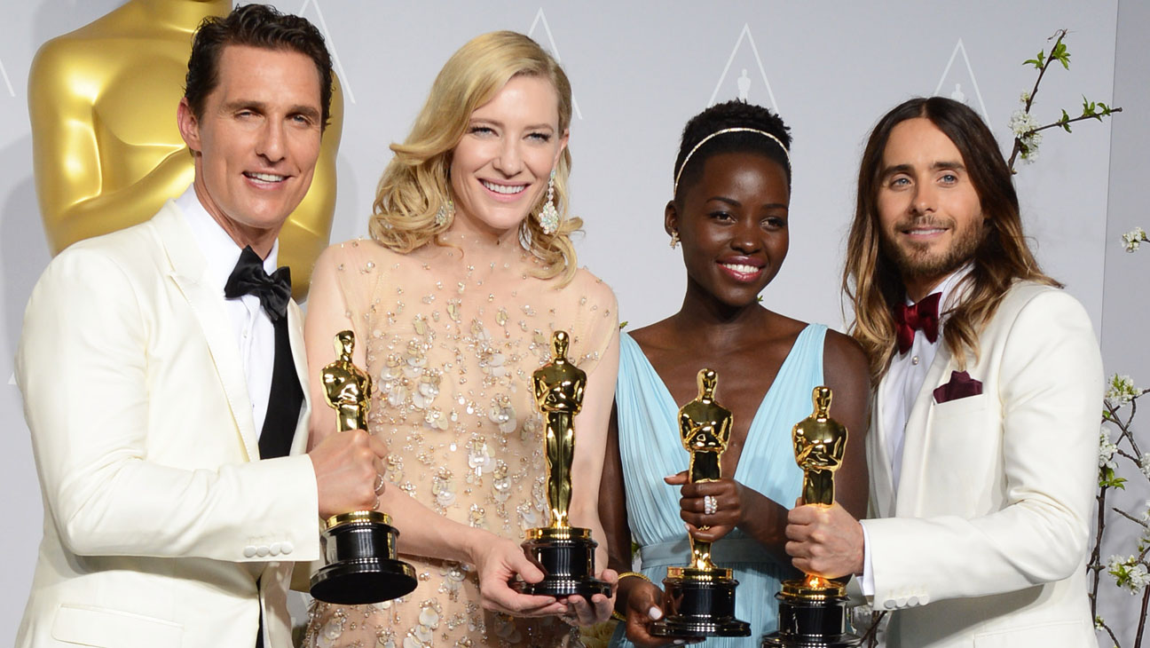 Oscars McConaughey Nyong'o Blanchett Leto with Awards - H 2014
