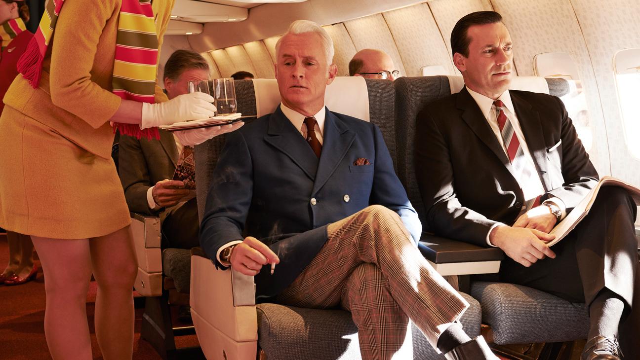 Mad Men S7 Key Art Roger Sterling Don Draper Plane - H 2014