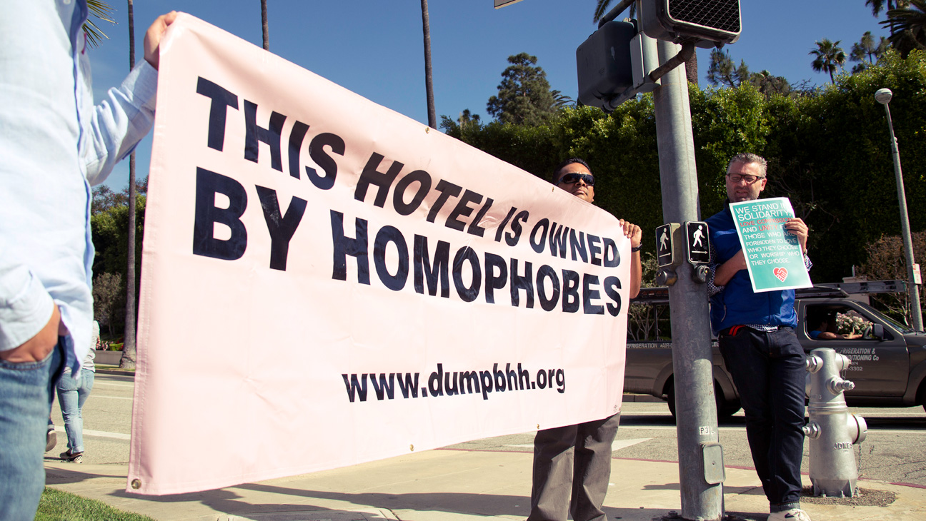 Beverly Hills Hotel Protest Homophobe Sign - H 2014