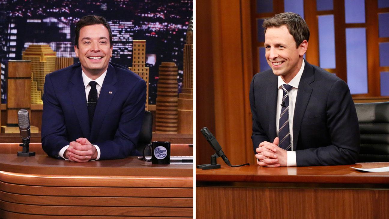 Jimmy Fallon Seth Meyers Late Night Episodics Split - H 2014