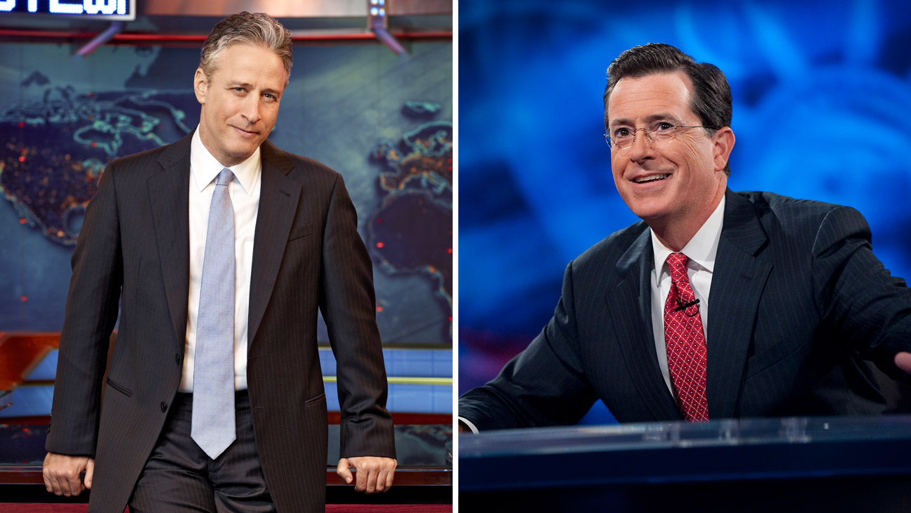 Jon Stewart Stephen Colbert Split - H 2014