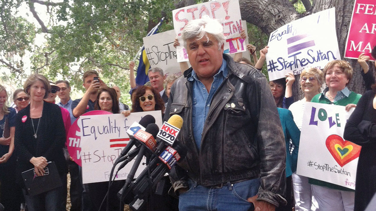 Beverly Hills Hotel Protest Jay Leno - H 2014