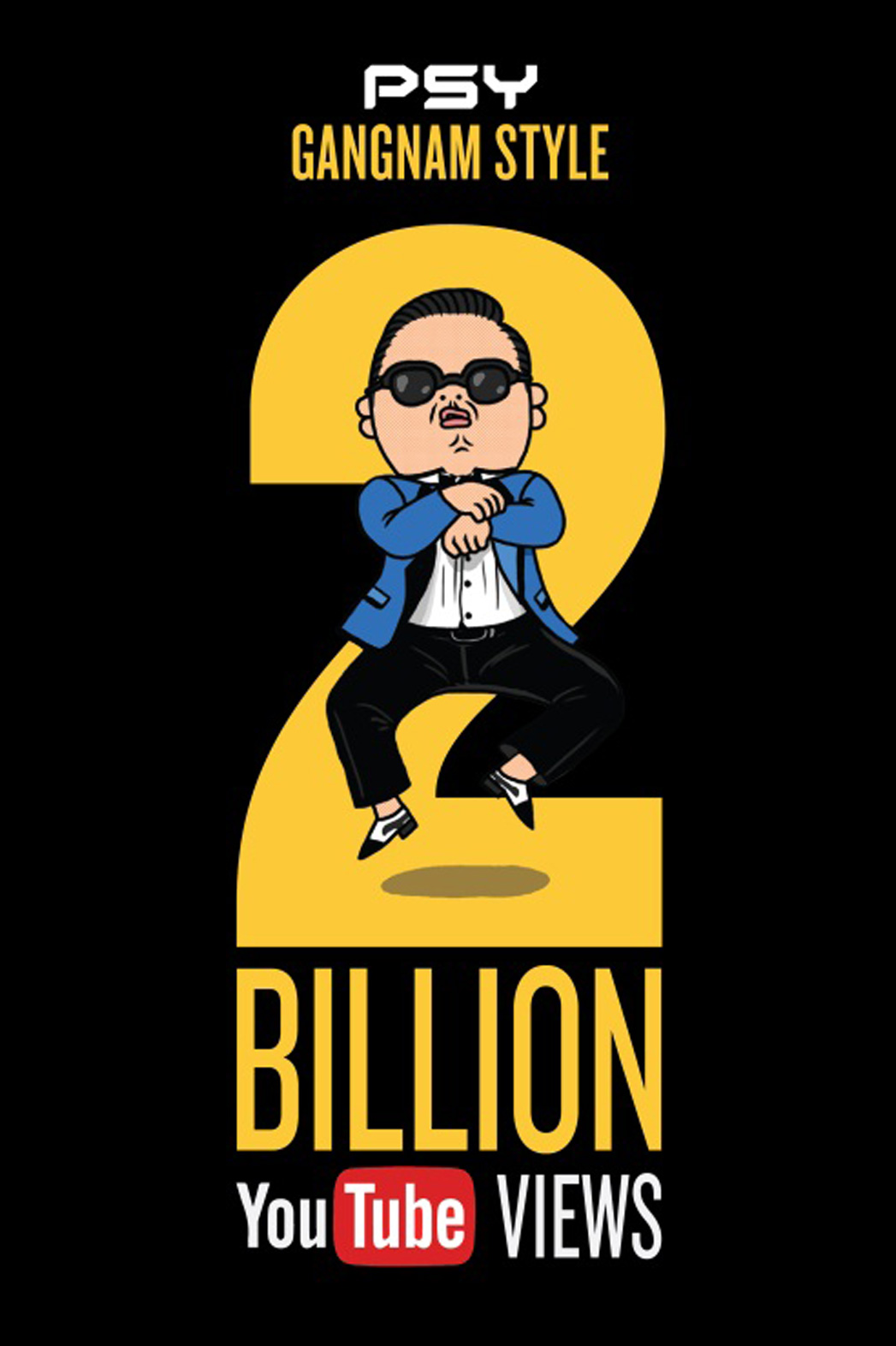 Psy Gangnam Style 2 Billions YouTube Views Poster - P 2014