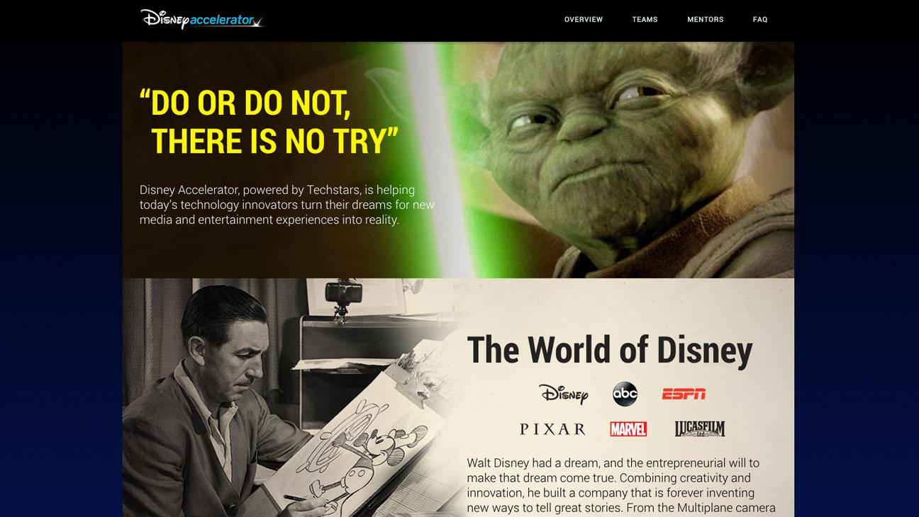 Disney Accelerator Homepage Screengrab - H 2014