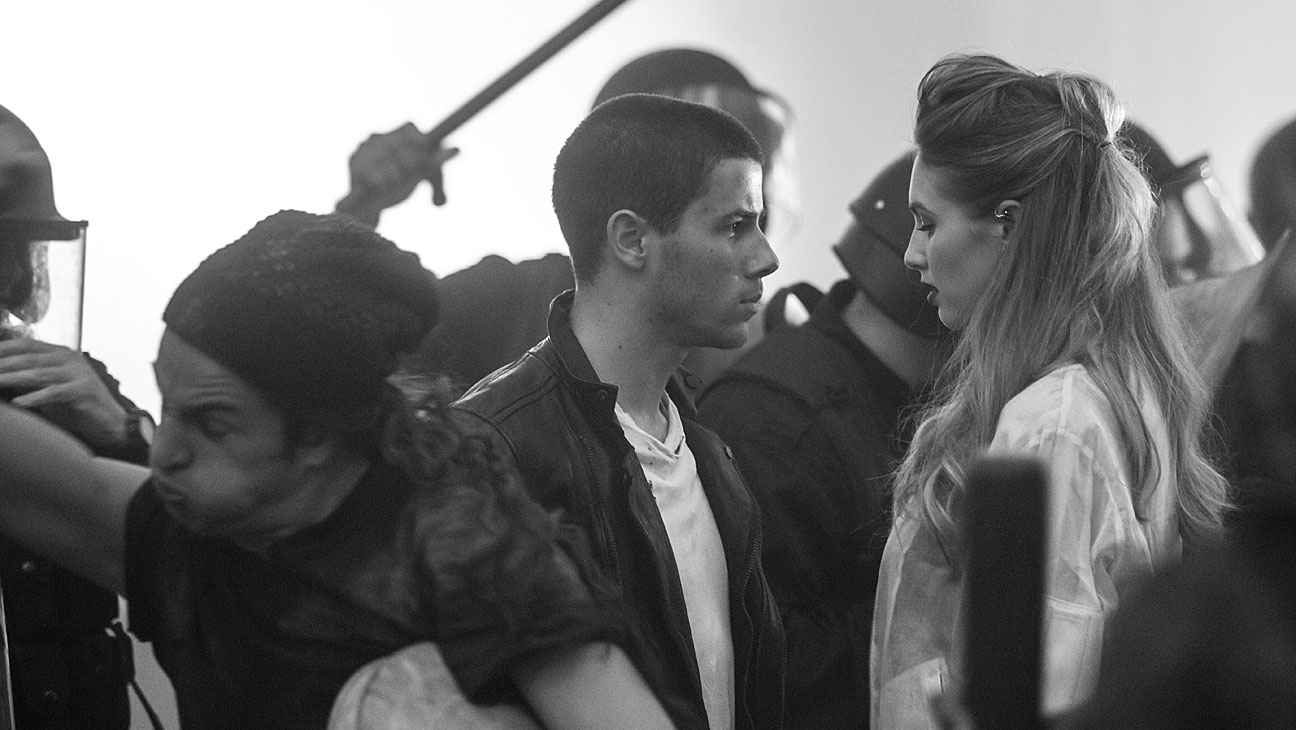 Nick Jonas Dylan Penn BTS - H 2014