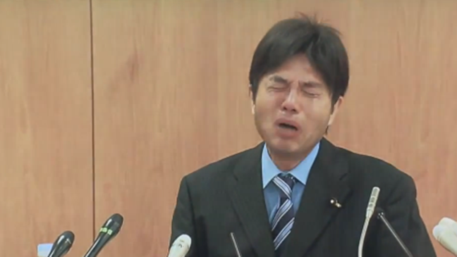 Japanese Politician Sobs Hysterically - H 2014