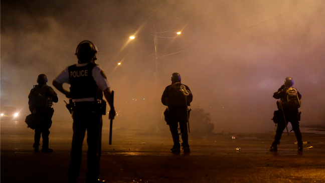 Police Watch Ferguson Protests H - 2014