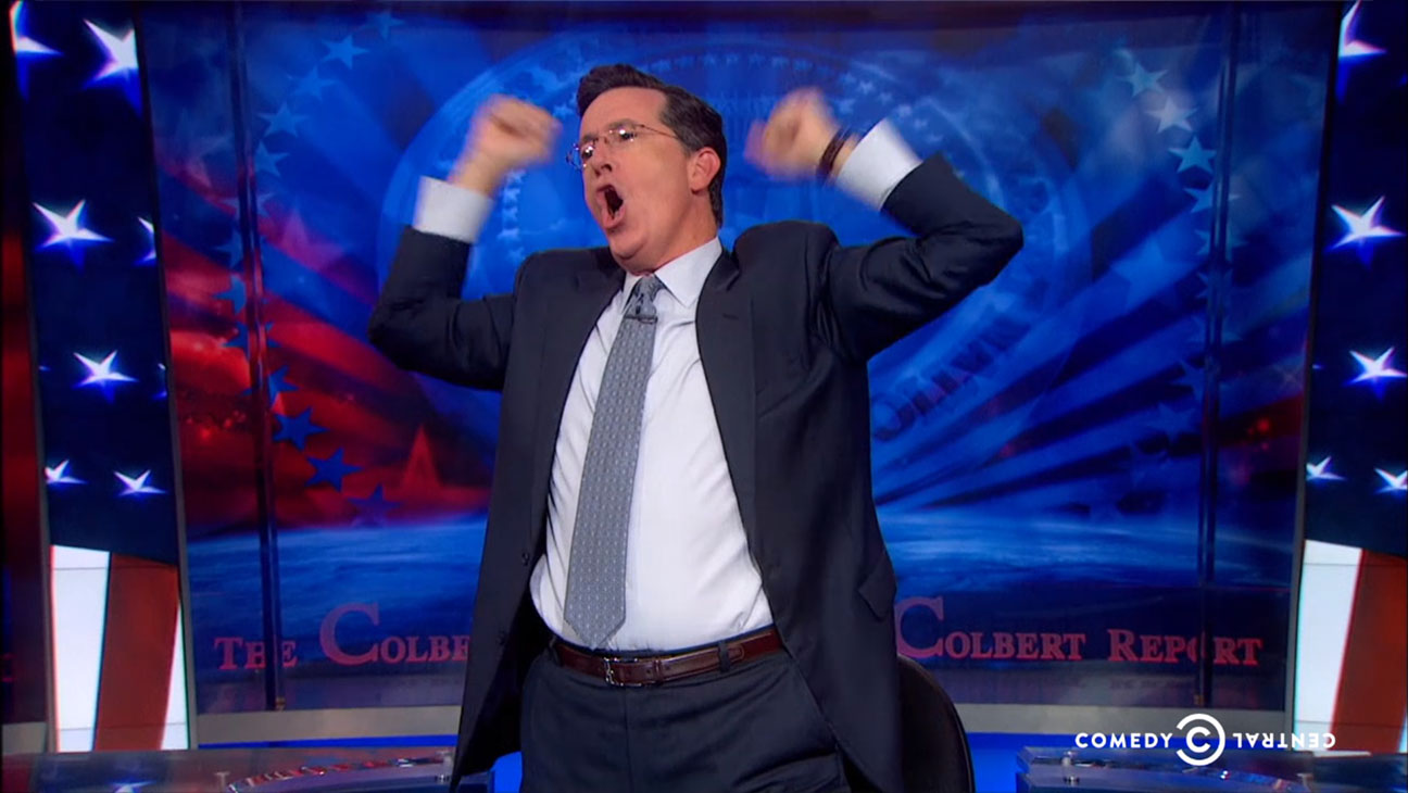 Stephen Colbert Cheering iWatch - H 2014