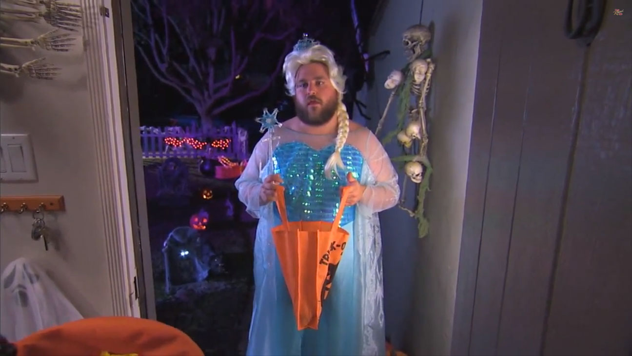 Bearded Elsa Halloween Jimmy Kimmel - H 2014