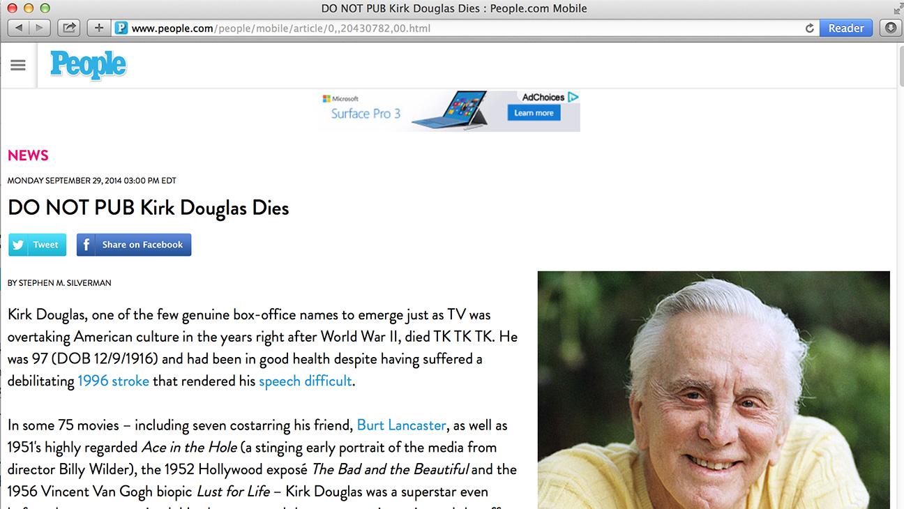 "People Kirk Douglas ""DO NOT PUB"" - H 2014"