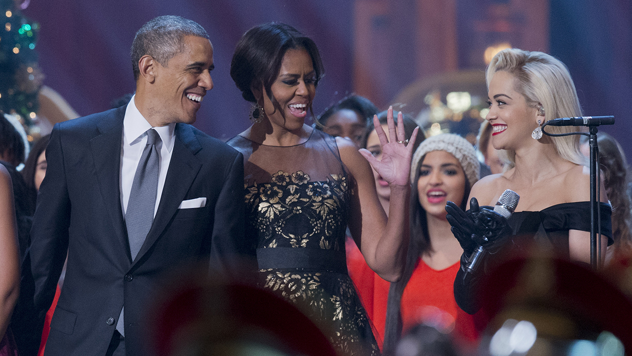 Obama Michelle Rita Ora Christmas H 2014