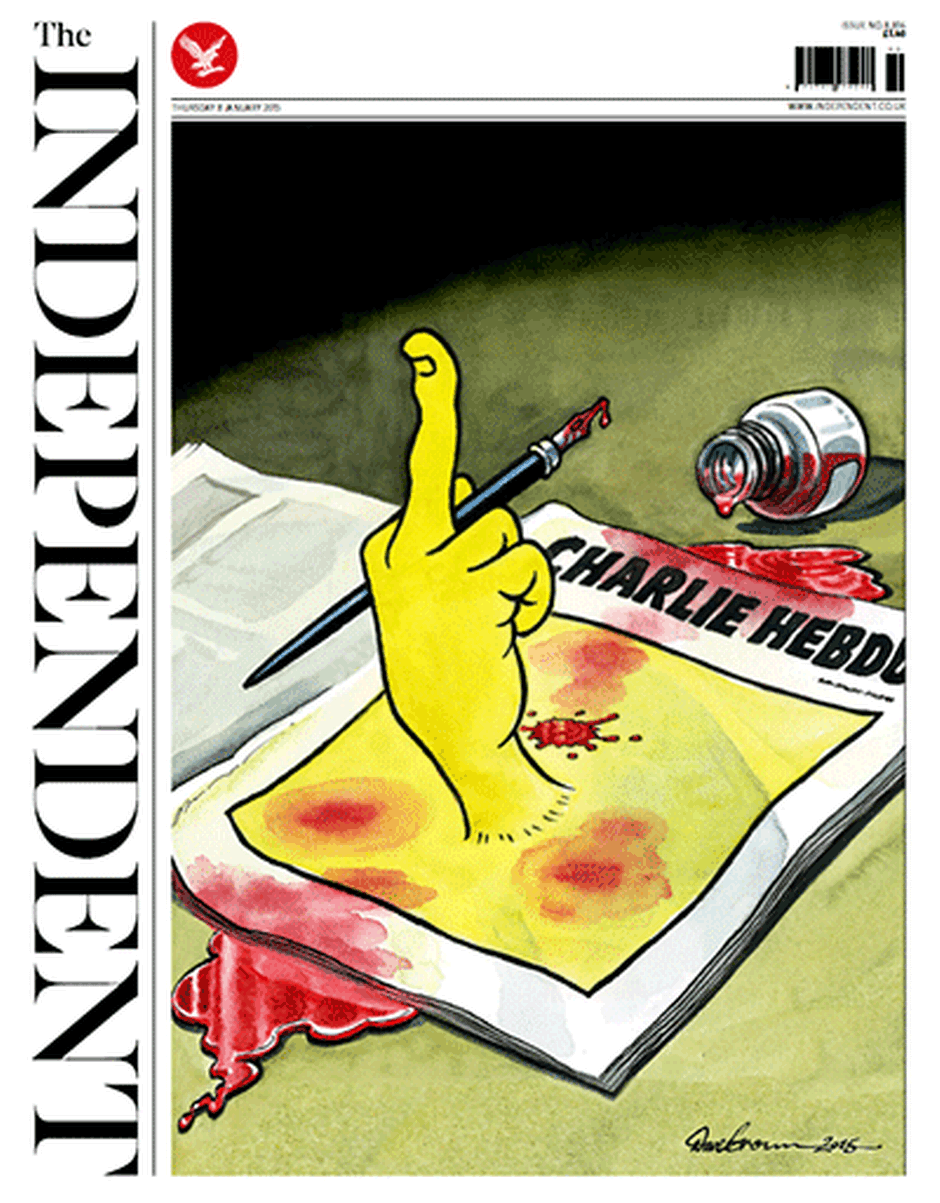 Independent front page on Charlie Hebdo killings - P 2015