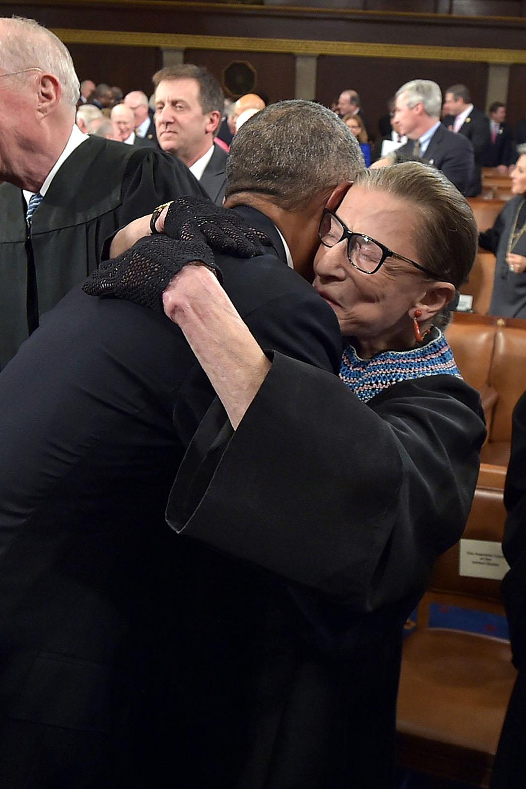 ruth bader ginsburg Hugging Obama - P 2015
