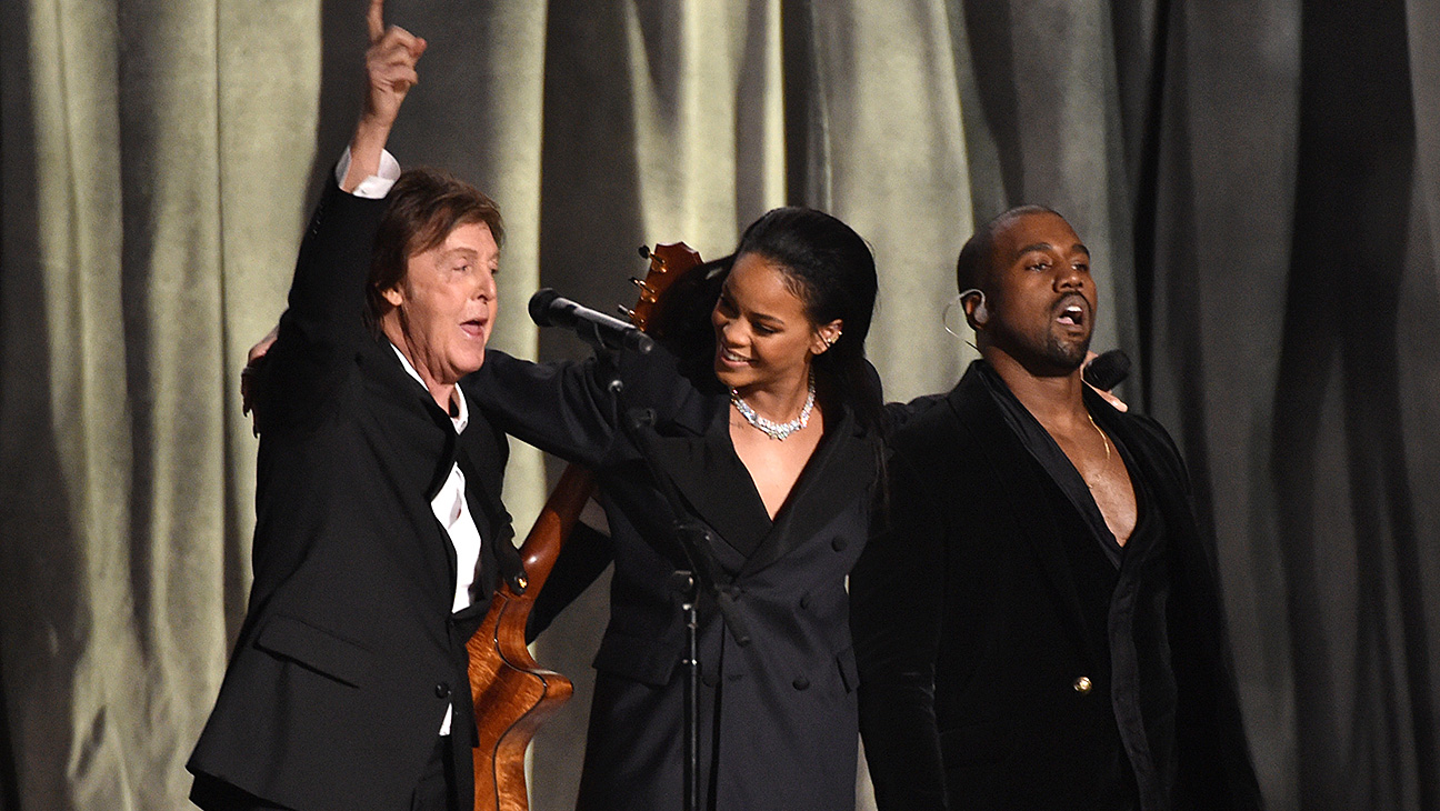 grammys 2015 rihanna kanye west and paul mccartney perform fourfiveseconds hollywood reporter grammys 2015 rihanna kanye west and paul mccartney perform fourfiveseconds hollywood reporter