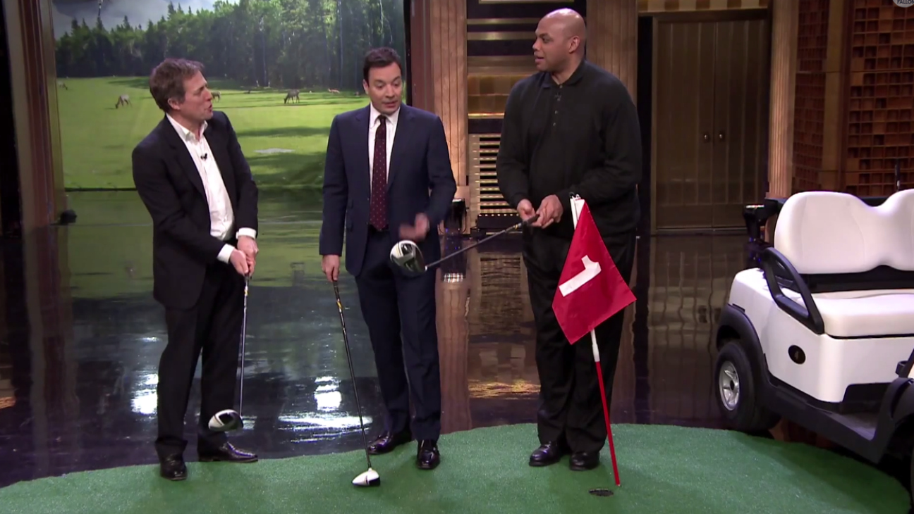Hugh Grant Jimmy Fallon Hallway Golf - H 2015