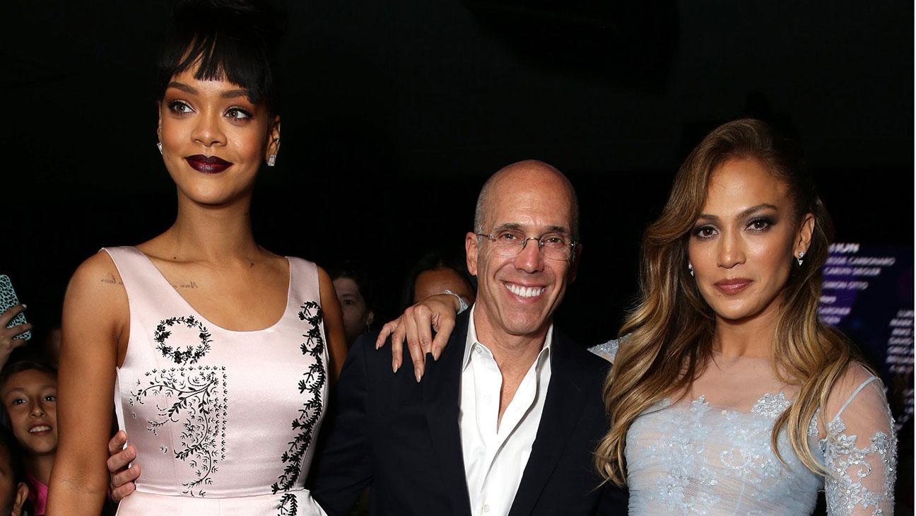 Rihanna Lopez Katzenberg Home Screening - H 2015