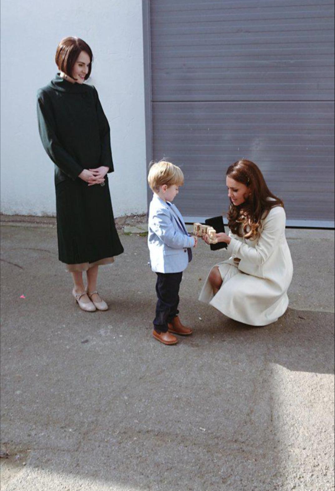 Kate Middleton, Michelle Dockery, Downton Abbey Set Visit