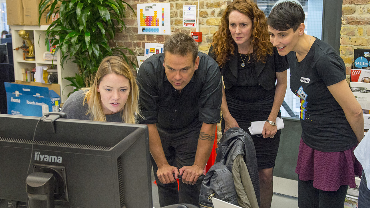 Lachlan Murdoch, Rebekah Brooks, Sarah Wood & Unruly staff member - H 2015