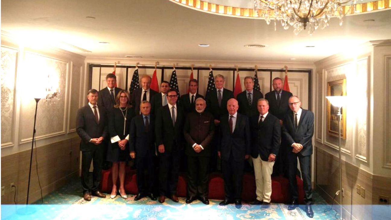 Indian prime minister Narendra Modi with entertainment CEOs in NY - H 2015