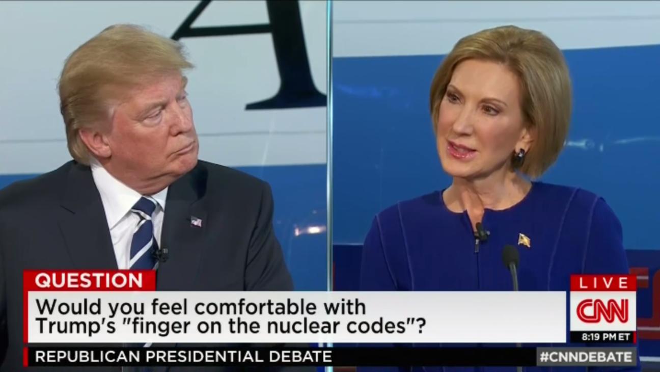 Donald Trump Carly Fiorina GOP Debate Still - H 2015