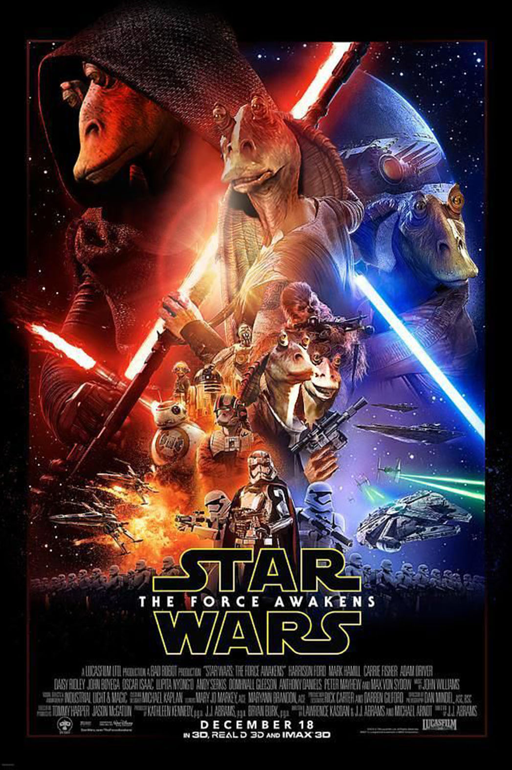 Jar Jar Awakens Poster - P 2015