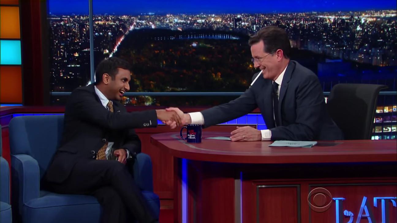 Aziz Ansari Stephen Colbert H 2015