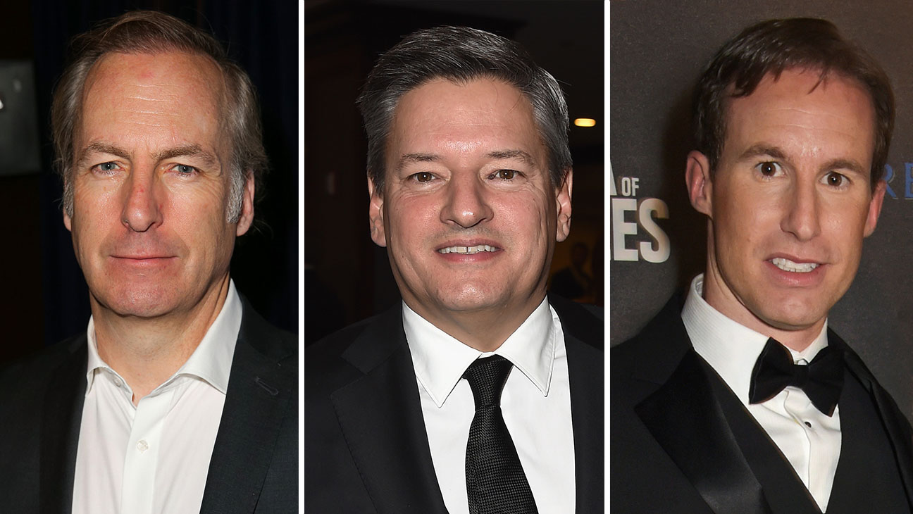 Bob Odenkirk, Ted Sarandos and Chris Sparling Split - H 2015