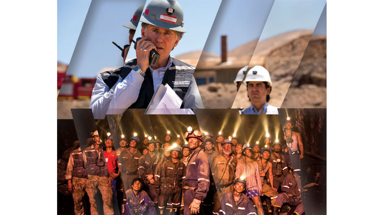 Behind the Screen The True story of 33 miners Collage - H 2015