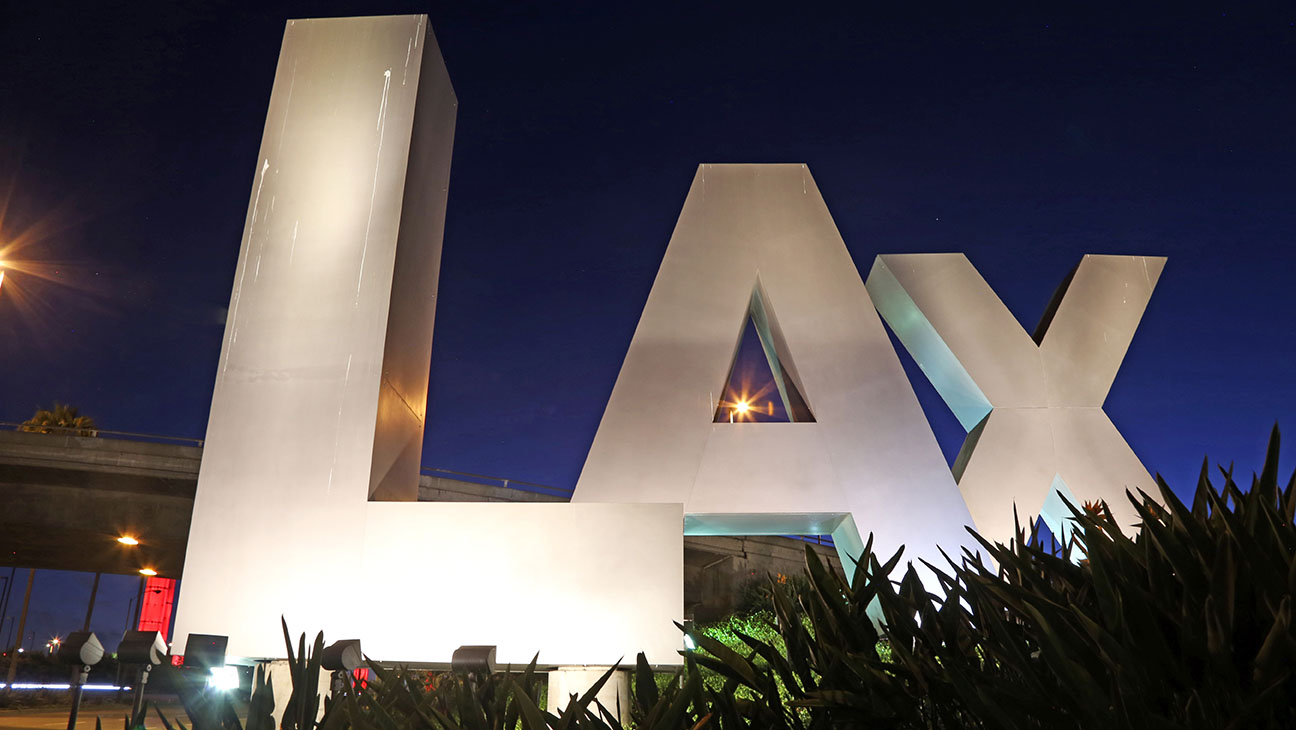 LAX sign at the Century Boulevard entrance to Los Angeles International Airport - H 2015