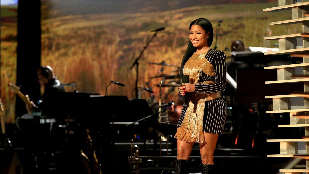 Rapper Nicki Minaj speaks onstage at Shining A Light concert  -H 2015