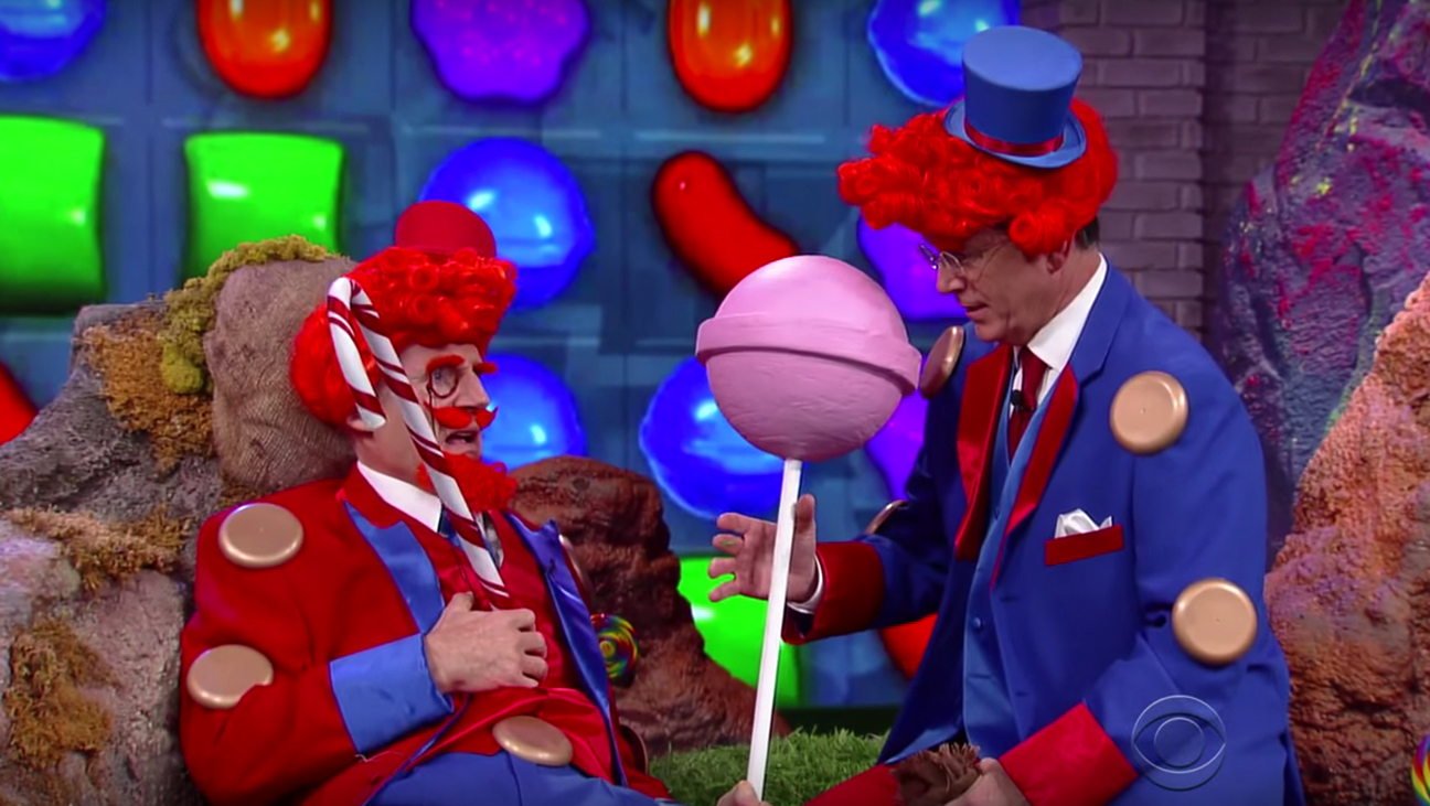 Liam Neeson Stephen Colbert Candy Crush H 2015