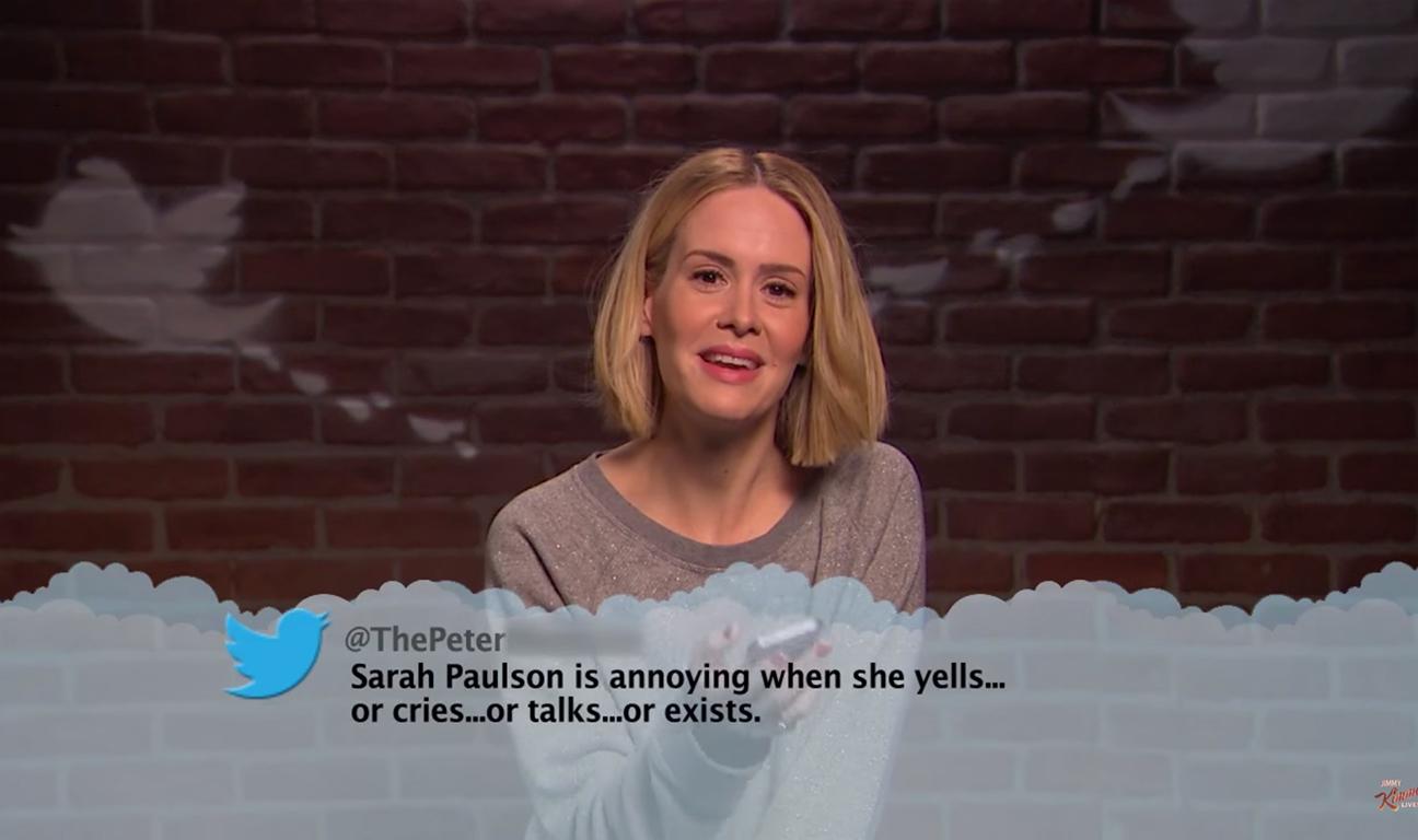 Sarah Paulson Mean Tweets Kimmel H 2015