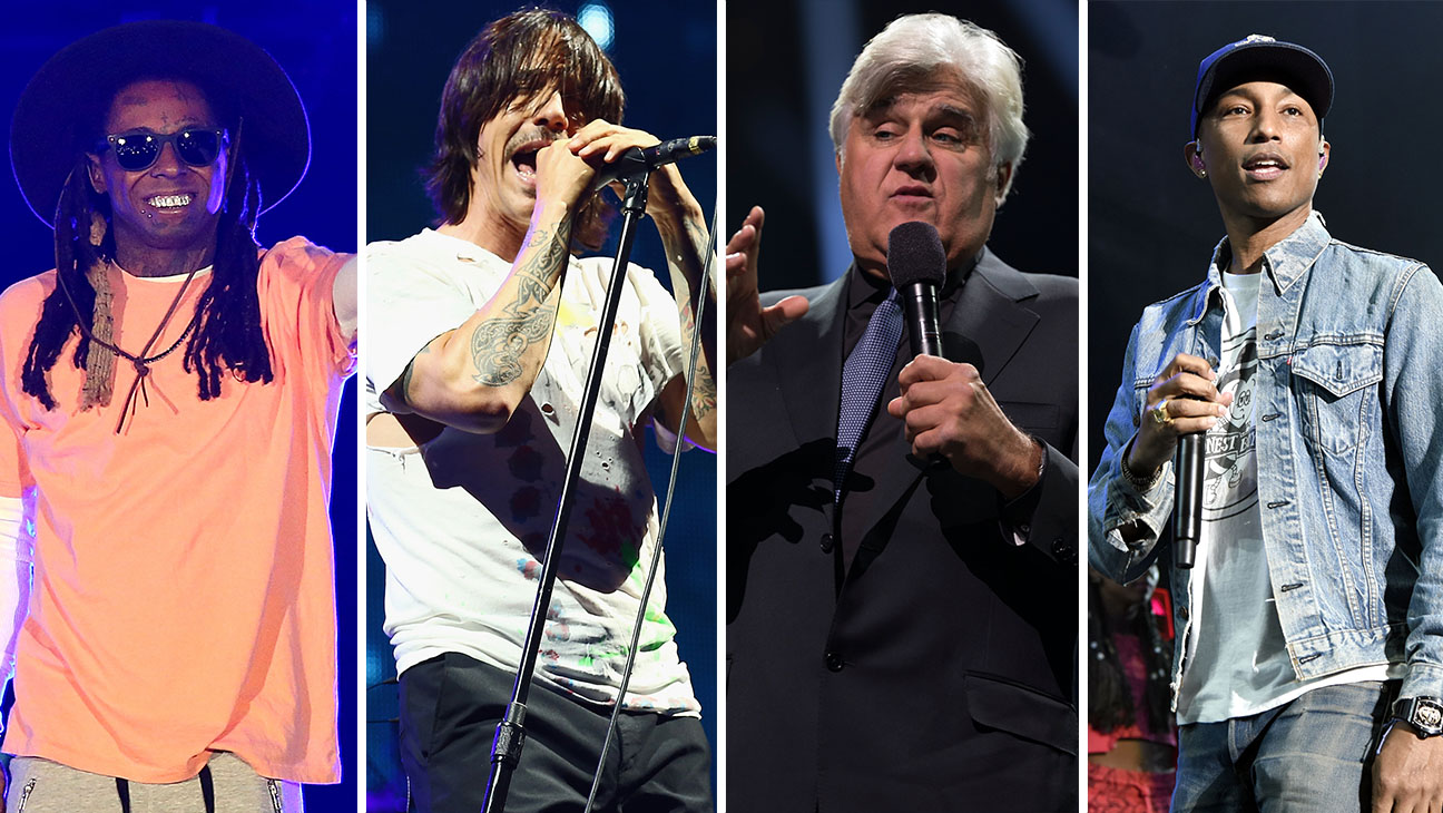 Lil Wayne, Anthony Kiedis, Jay Leno, and Pharell Split - H 2016